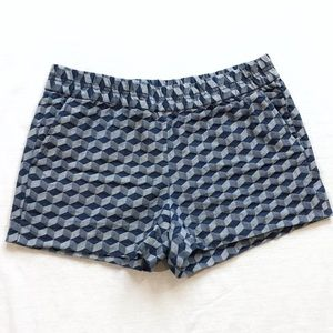 J Crew Factory geometric cube denim shorts 8